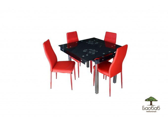 Стеклянный стол на кухню B-07 черный с цветами 0