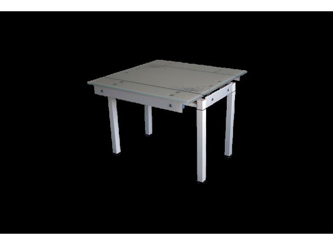 Стеклянный стол на кухню B-07В бежевый с цветами
