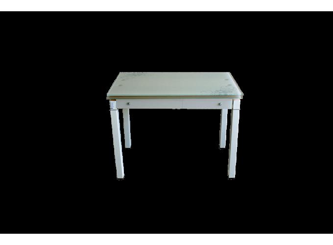 Стеклянный стол на кухню B-07В бежевый с цветами 0