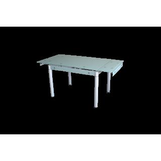 Стеклянный стол на кухню B-08-118В Белый без цветов
