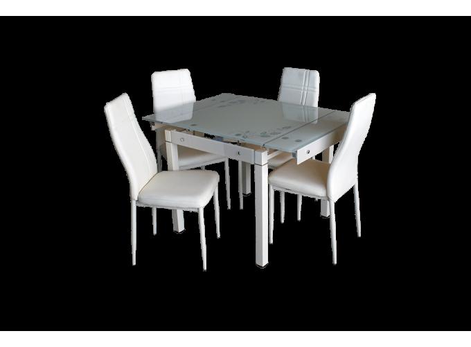 Стеклянный кухонный стол B-08-758В Бежевый 1