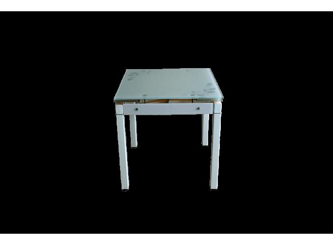 Стеклянный кухонный стол B-08-758В Бежевый 0