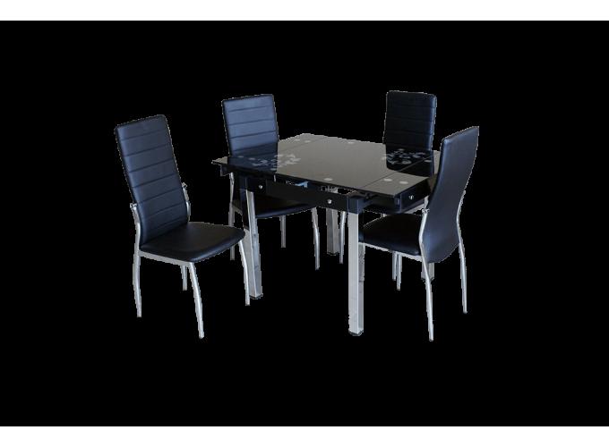 Стеклянный кухонный стол B-08-758 Черный 1