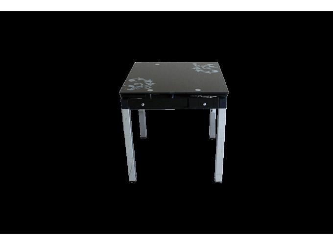 Стеклянный кухонный стол B-08-758 Черный 0