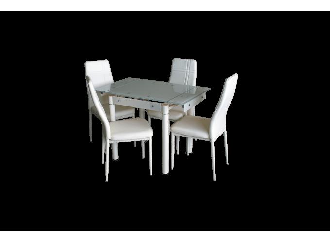 Стеклянный кухонный стол B-08-76В бежевый без цветов 1