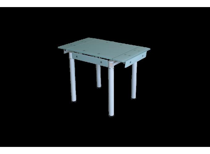Обеденный стеклянный стол на кухню B-08-76В белый без цветов