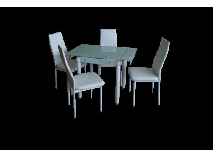 Обеденный стеклянный стол на кухню B-08-76В белый без цветов 1