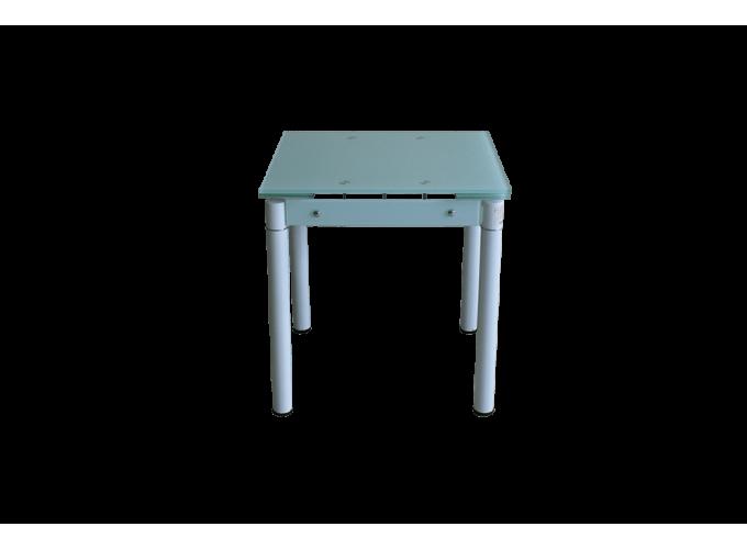 Обеденный стеклянный стол на кухню B-08-76В белый без цветов 0