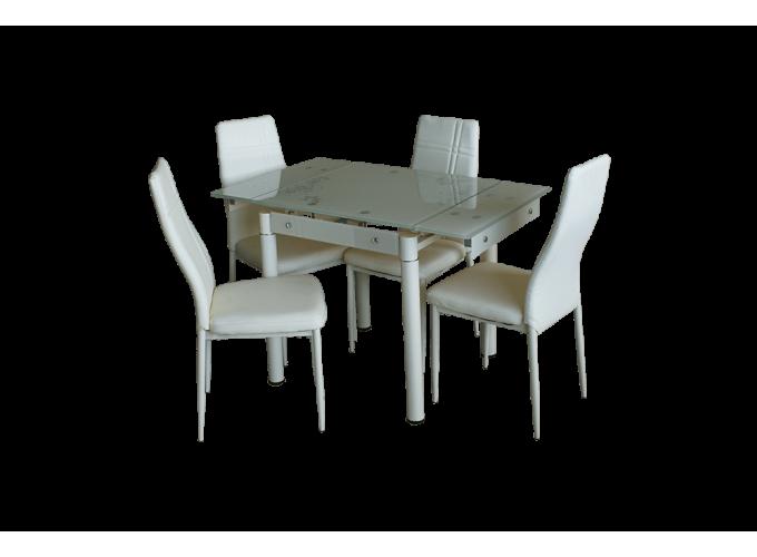 Стеклянный кухонный стол B-08-77В бежевый 1