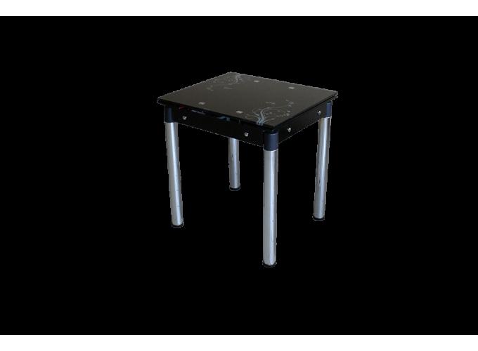 Стеклянный кухонный стол B-08-77 черный с цветами 1