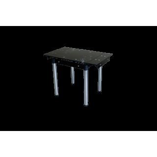 Стеклянный кухонный стол B-08-77 черный с цветами