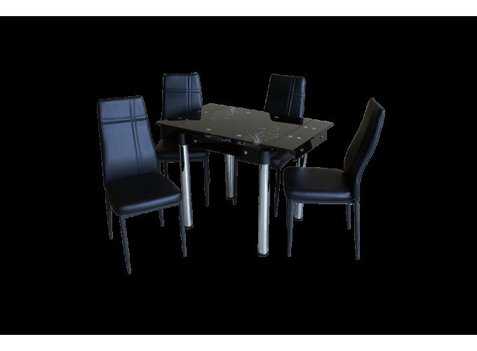 Стеклянный кухонный стол B-08-77 черный с цветами 0