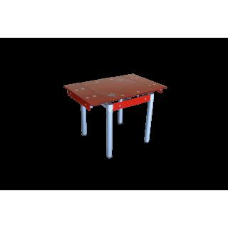Стеклянный кухонный стол B08-77 красный