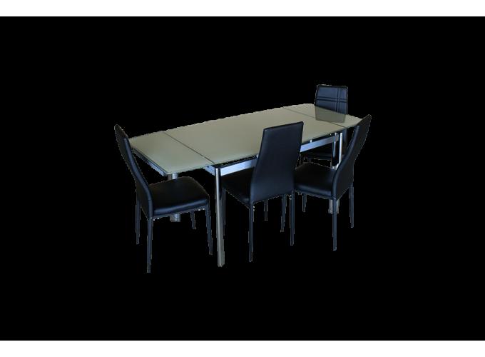 Стеклянный кухонный стол  В100-128 Бежевый 1