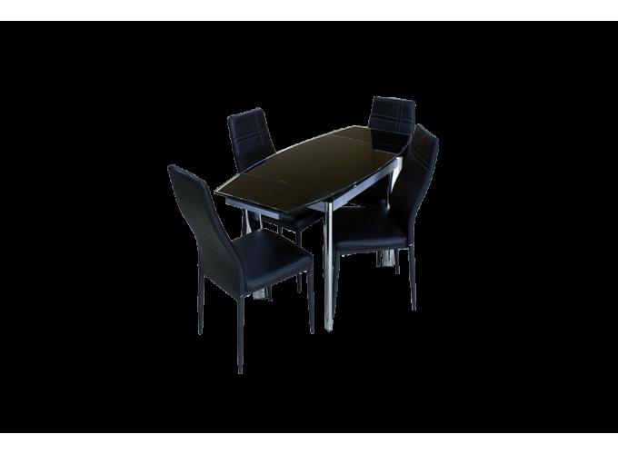 Стеклянный кухонный стол  В100-86 Черный 1