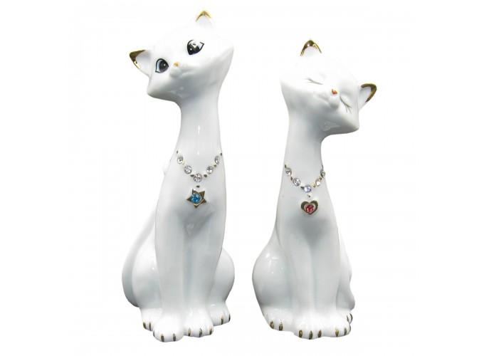 Статуэтка декоративная из фарфора  Арт.В2400 (два кота (парочка))
