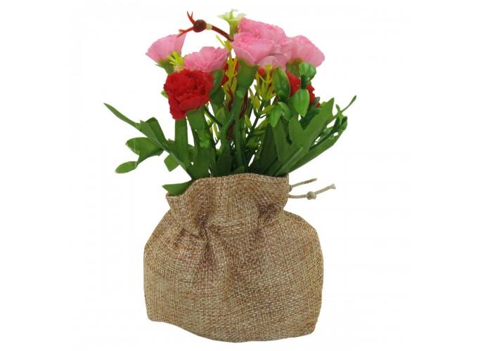 Цветы искусственные в горшке из полим.матер.  Арт. ZC-004 (в прозрачной коробке)