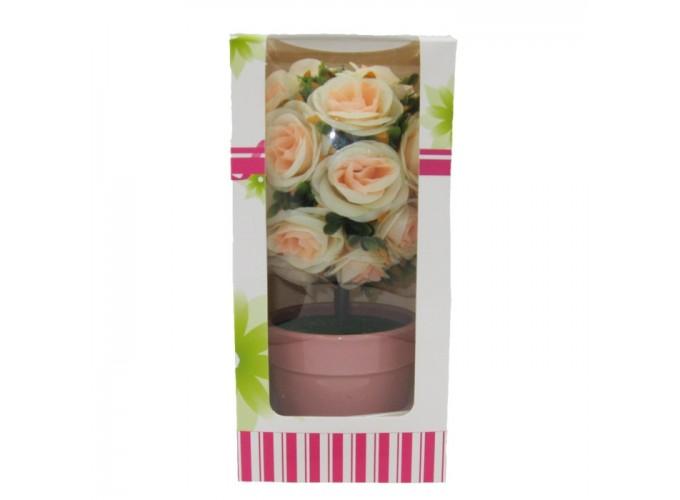 Цветы искусственные в горшке  из полимерных материалов Арт.Y-602 (чайная роза)