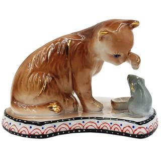 Статуэтка из фарфора  Арт.YSAA-10250B (кот с мышкой)
